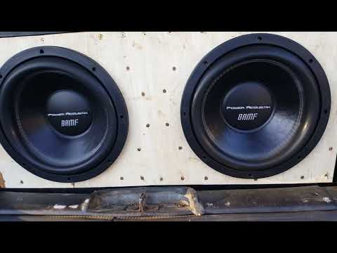 2 power acoustik bamf 12's on an poweracoustik 8000.1@.5ohms doing some flexing (excursion test)